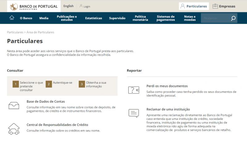 banco de portugal mapa de contas