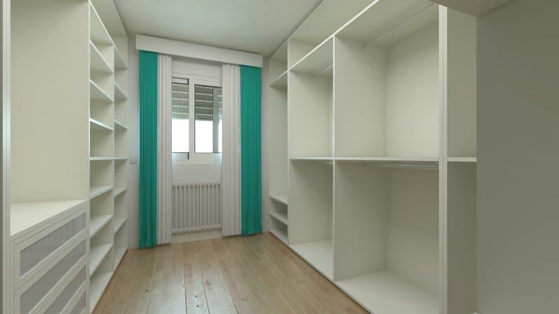 quarto branco com estantes