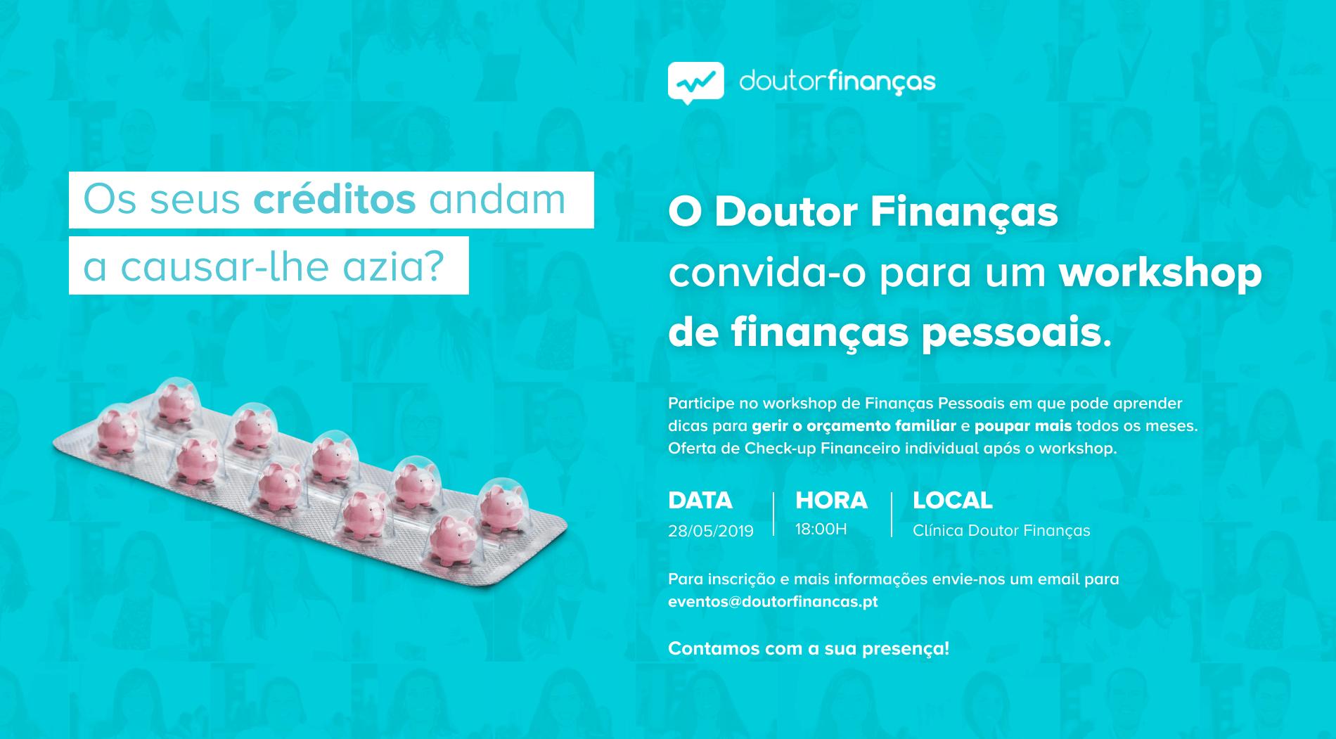 convite para workshop de finanças pessoais